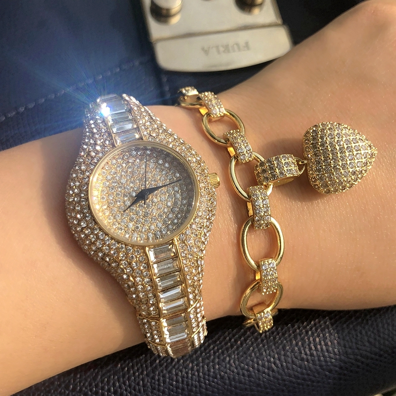 Luxury Watches For Women Rhinestone Wrist Watch Pave Cubic Zirconia Bracelet Set Waterproof Quartz Clock Hours Watches Lady Gift