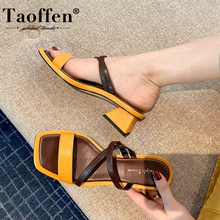 Taoffen Women Sandals Shoes High-Quality Real Genuine Leathe