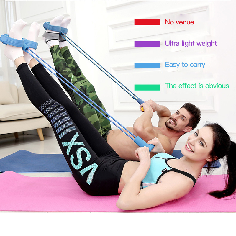 4-Tube Foot Pedal Pull Rope  Multifunctional Latex Foot Elastic Pull Rope Fitness Workout Pedal Sports Equipment Resistance Band