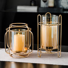 Nordic Metal Glass Candle Holder Decoration Wedding Candlestick Modern Tealight Holder Art Home Decor Dining Table Accessories