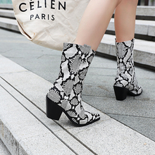YANSHENGXIN Shoes Woman Boots Serpentine High Heel Women Boots Autumn Winter Boots Pointed Toe Shoes  Ladies Mid-Calf Booties цена