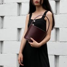 Small Bucket Women's Bags Genuine Leather Designer Handbags High Quality Cylinder Ladies Shoulder Messenger Bags For women 2019 цена в Москве и Питере