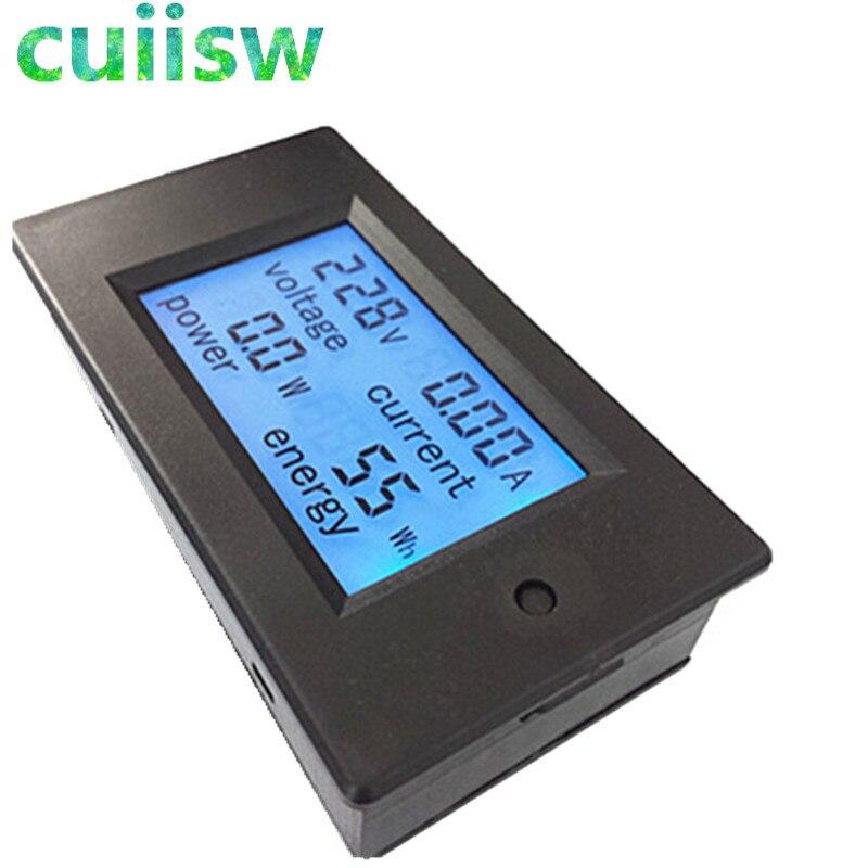 Voltímetro amperímetro 4 em 1, medidor de energia corrente medidor de voltagem ac 80-260v 20a medidor de potência frete grátis