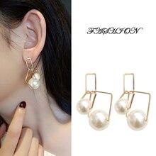 2019 New Arrival Simulated Pearl Earrings Trendy Geometric Large Dangle Earrings Korean Fashion Eardrops Female Jewelry new arrival hollow shell pearl retro earrings female simulated pearl trendy geometric women dangle earrings