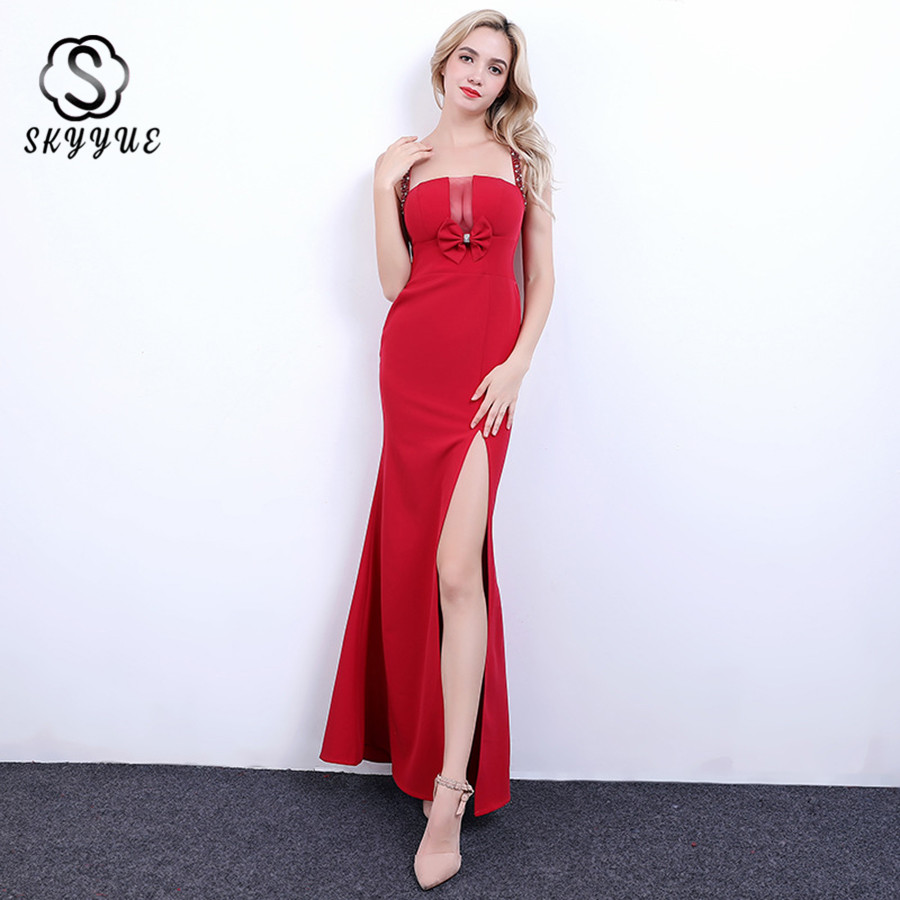 Skyyue Evening Gown 2019 Sexy Sling Split Backless Robe De Soiree Solid Mermaid Evening Dress Bow Crystal Formal Dresses HH056