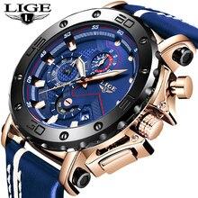 Часы наручные LIGE Мужские кварцевые с большим циферблатом, брендовые Роскошные повседневные водонепроницаемые спортивные с кожаным ремешком, с хронографом, 2020