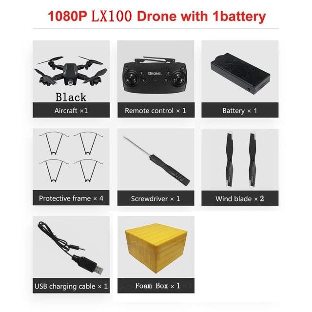 LAUMOX LX100 Радиоуправляемый Дрон с 4 K/1080 P HD камерой оптическое позиционирование потока wifi FPV складной Квадрокоптер вертолет дроны следуем за мной - Цвет: 1080P 1B FB B