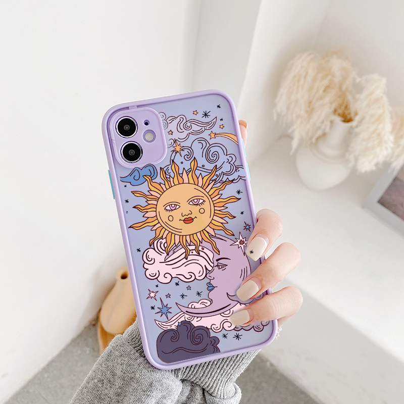 JAMULAR Funny Sun Moon Face Shockproof Phone Case For iPhone 11 Pro 7 XS MAX X XR SE 2020 8 Plus Soft TPU Matte Candy Back Cover(China)