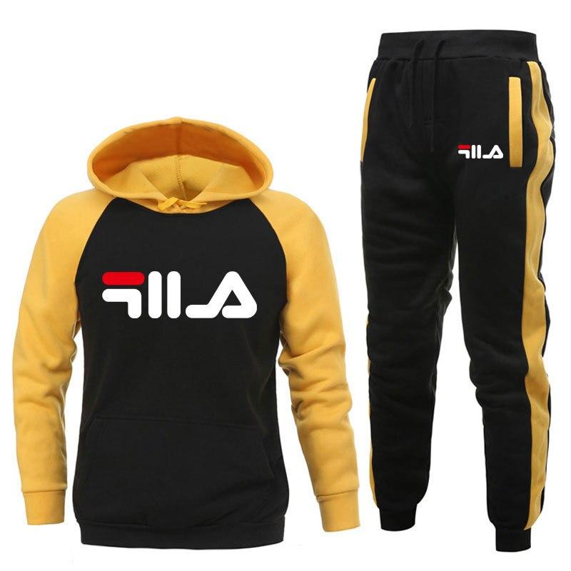 Tracksuit Men Sets Winter Hoodies Pants Splice 2 Piece Set Casual Outfit Hoody Mens Hoodie Sweatshirt Hedging Sweatpants Suit