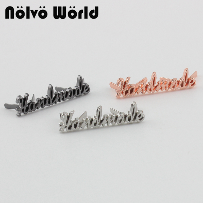 20-100 Pieces,4 Colors 35*9mm Handmade Script Metal Bag Label,handcraft Handmade Letters Metal Label Decorative For Purse