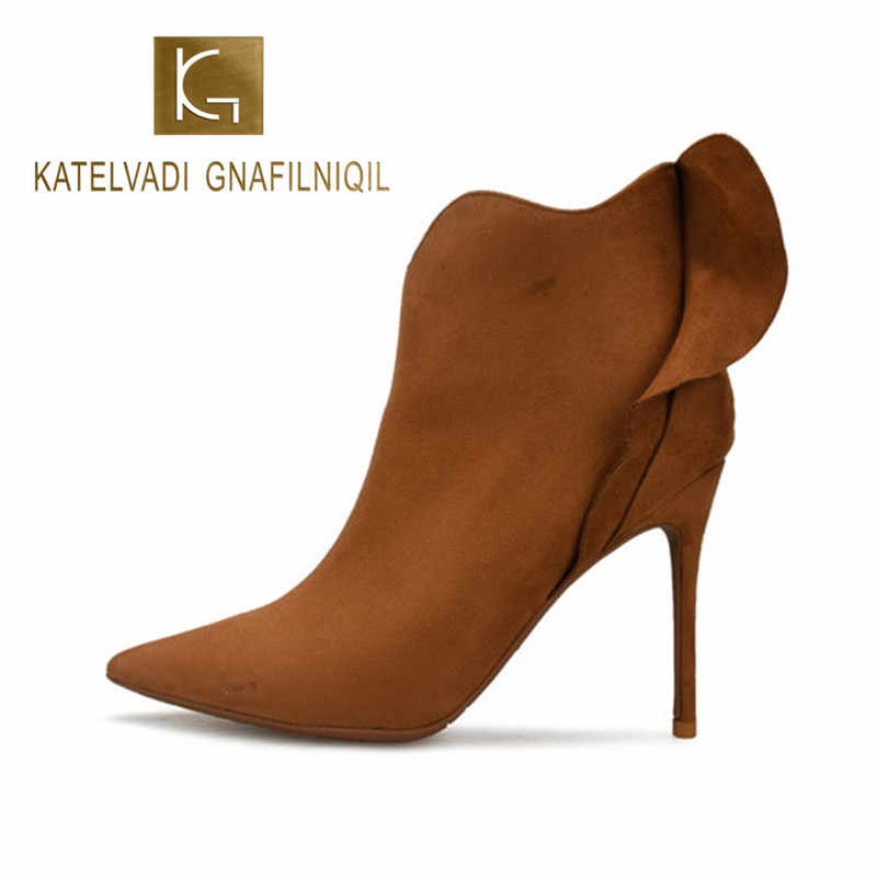 KATELVADI Winter Pointed Toe Ankle Boots 10CM High Heels Shoes Women Solid Brown Flock Side Zipper Fashion Ladies Concise  K-484