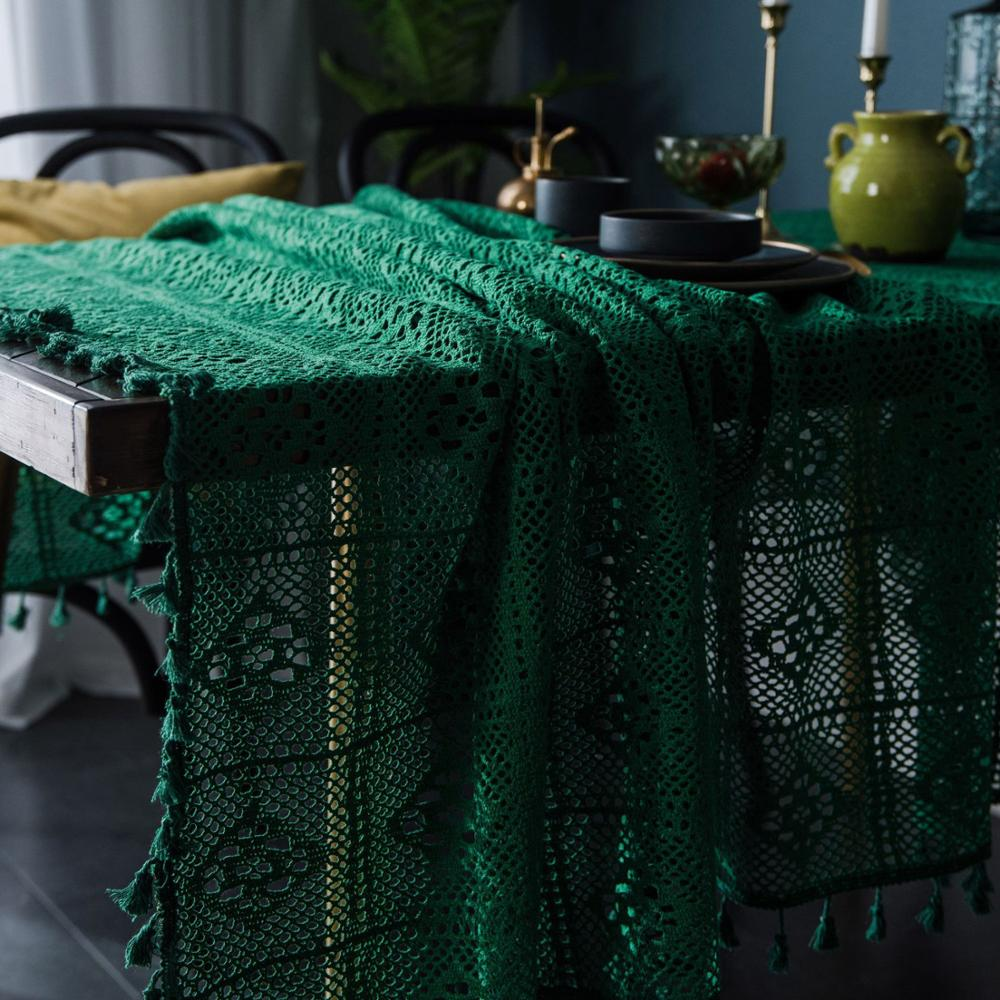 Green Openwork Table Cloth handmade knitting Tassel Cotton Tablecloth Dining Round Table Cover American country style Home Decor image