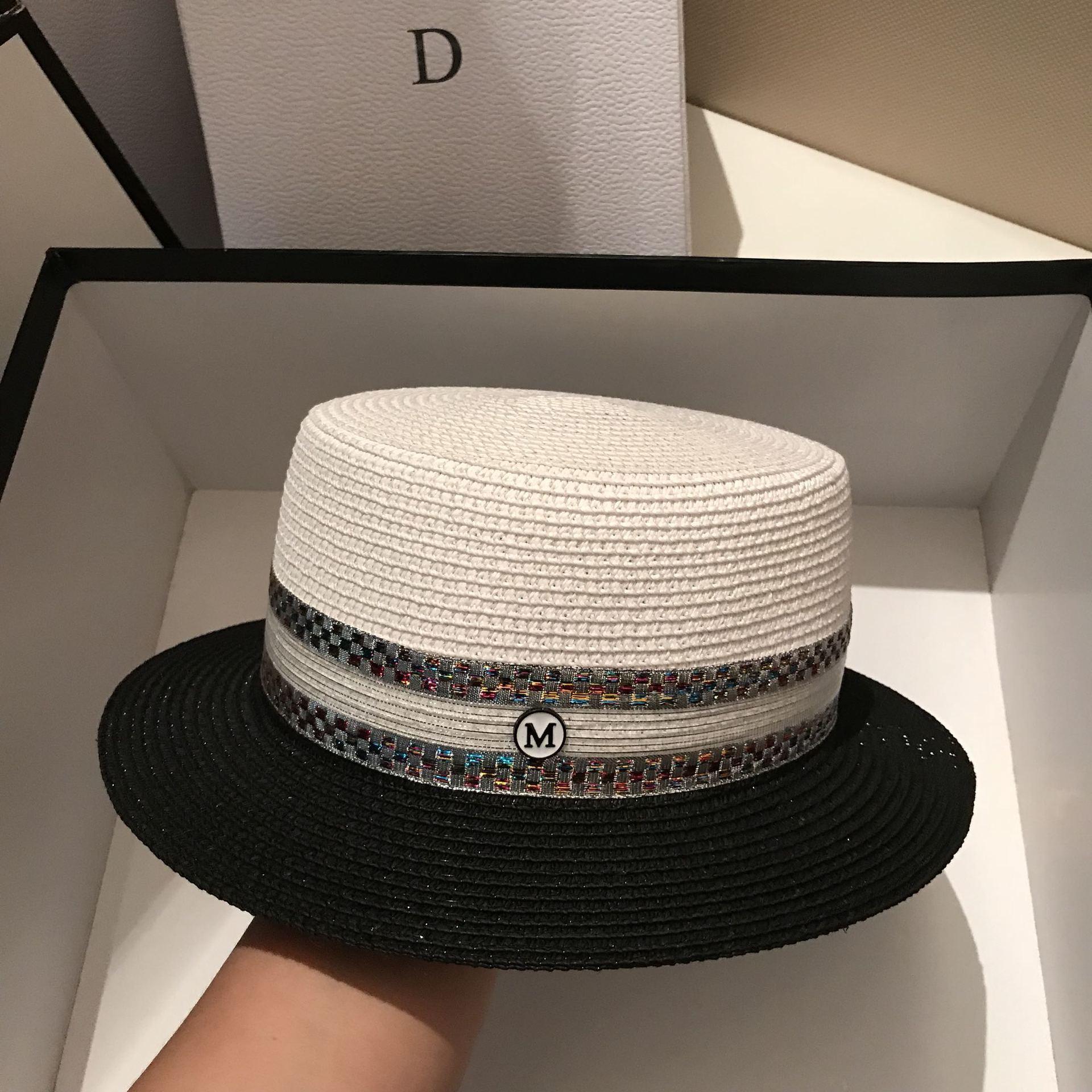 2020 Summer Flat Sun Hats For Women Chapeau Feminino Straw Hat Panama Cappelli Side With Splicing Beach Bucket Cap Girl Topee