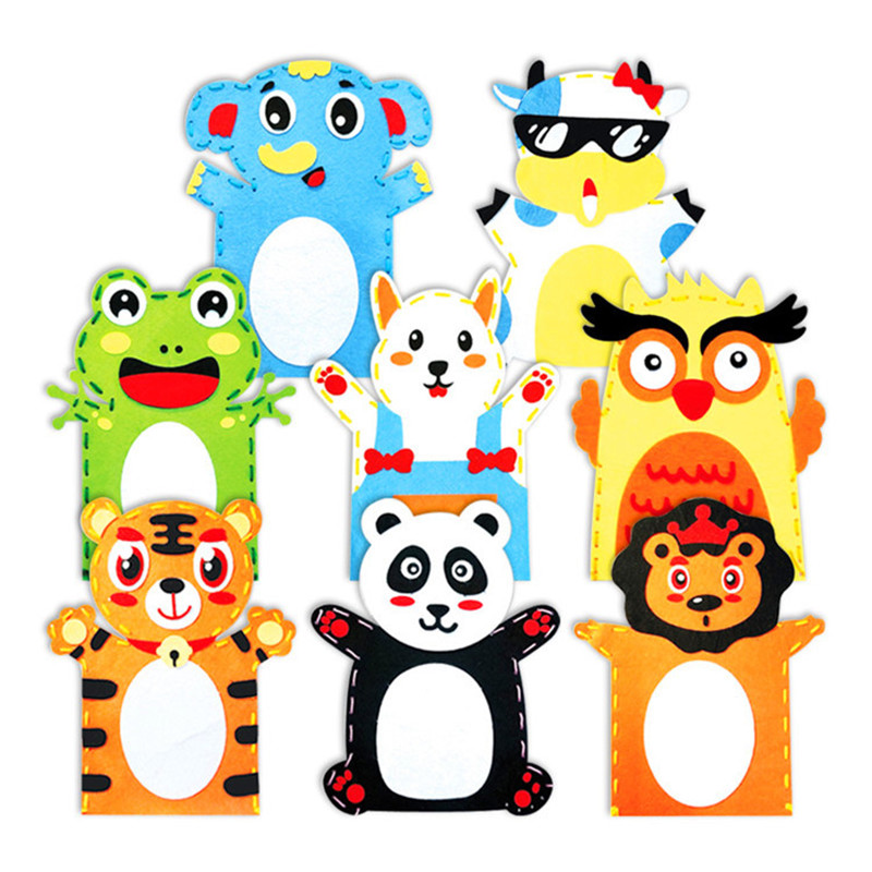 4pcs DIY Felt Sewing Kit Kids Hand Puppet Craft Story Telling Animal Lion Elephant Cow Frog Educational Toys For Kindergarten