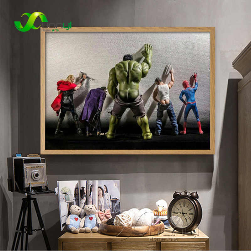 Avengers Movie Hulk Super Heros Spider-man Toilet Poster Nordic Funny Marvel Heros Kids Room Home Decor Wall Art Canvas Painting