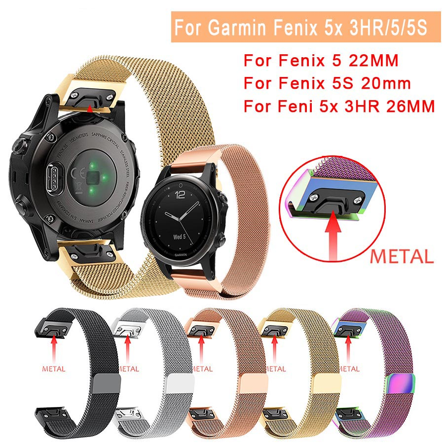 Milanese Magnetic Quick EasyFit Metal Stainless Steel Watch Band Strap For Garmin Fenix 6S 6X 6 Pro 5/5S/5X Plus/Forerunner 935