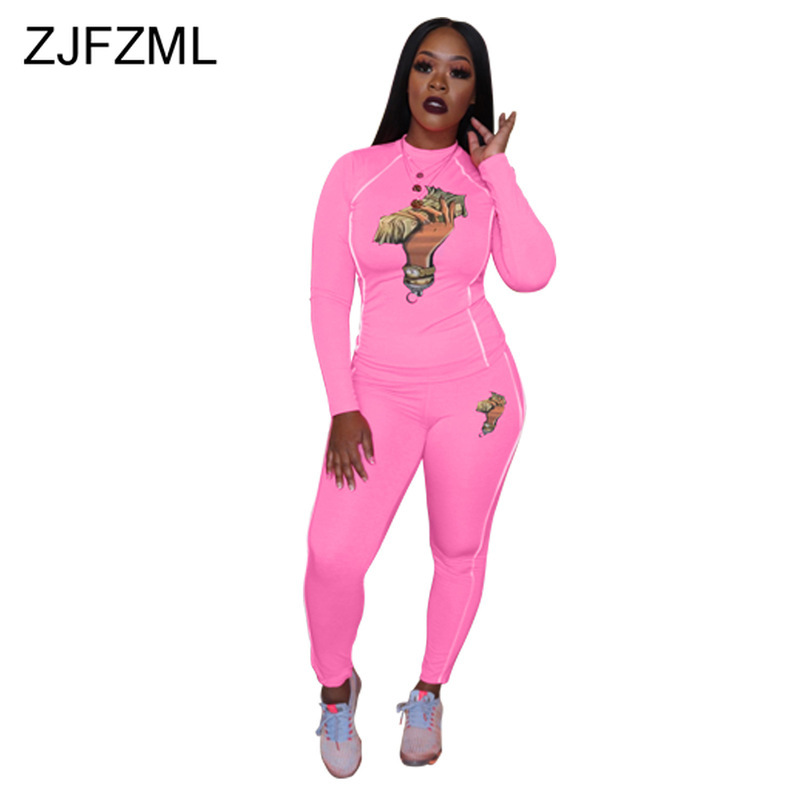 Printed Plus Size 2 Piece Set Sweat Suits Women Round Neck Full Sleeve Cropped Tshirt + Skinny Long Pants Festival Matching Sets
