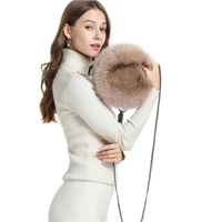 IANLAN Womens Genuine Full pelt Fox Fur Shoulder Bags Ladies Solid Real Fur Coin Purse , Card Holder, Mobile Phone Bag IL00535