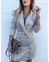 Double Breasted Sequined Blazer Dress Women Long Sleeve Notched Collar Bodycon Dresses Elegant Office Ladies Work Wear Vestidos