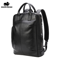 BISON DENIM Genuine Leather Men Backpack Waterproof Backpack Fashion 15.6 inches School Bag for Teenager Casual Travel Bag N2695