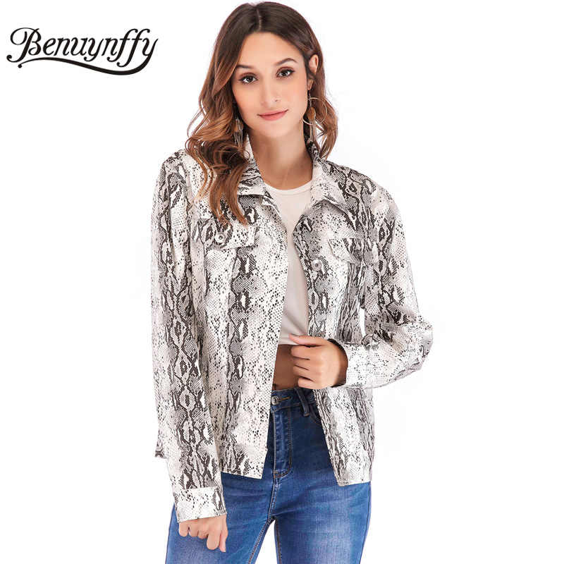 Benuynffy Snake Skin Print Long Sleeve Coat Turn-down Collar Women Outwear Casual Single Breasted Autumn Female Short Jackets