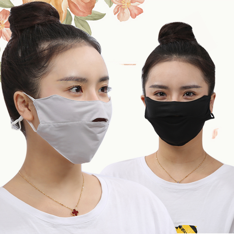 Summer Female Ice Silk Breathable Thin Mask Exposed Nose Open Bike Easy To Breathe Face UV Protection Sunscreen Mask