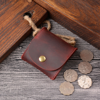 Vintage Design Good Qualtiy Cow Leather Coin Purse Mini Small Wallet Female Real Cow Leather  Individuation Men Women Coin Bag