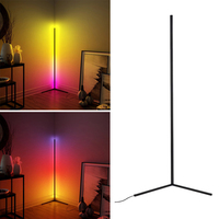Floor Lamp Modern RGB Remote LED Floor Lamps Corner Standing Lamp Black
