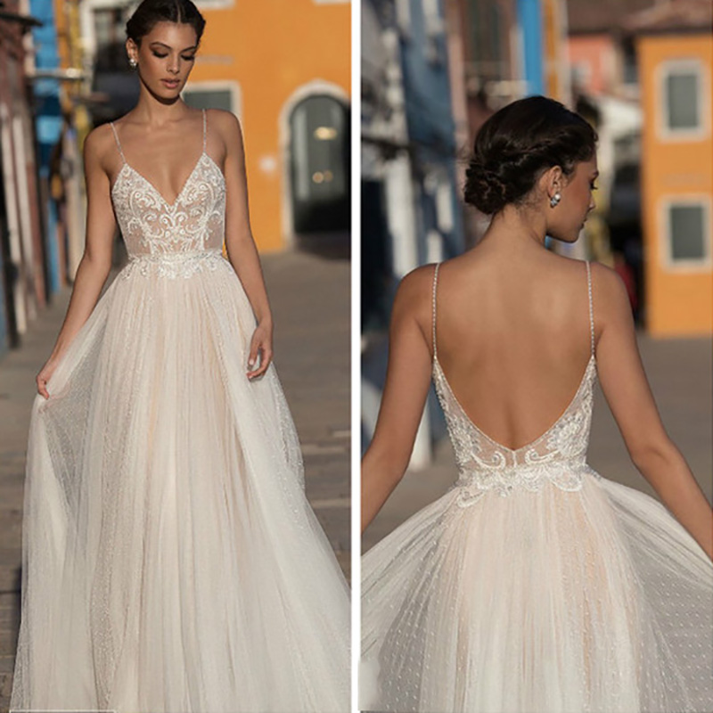 2020 MYYBLE Beach Wedding Dress Boho Vestido De Noiva Bohemian Lace Bridal Dress Backless Spaghetti Straps V Neck Wedding Gowns