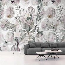 Фотообои beibehang в стиле ретро с листьями цветами оленями