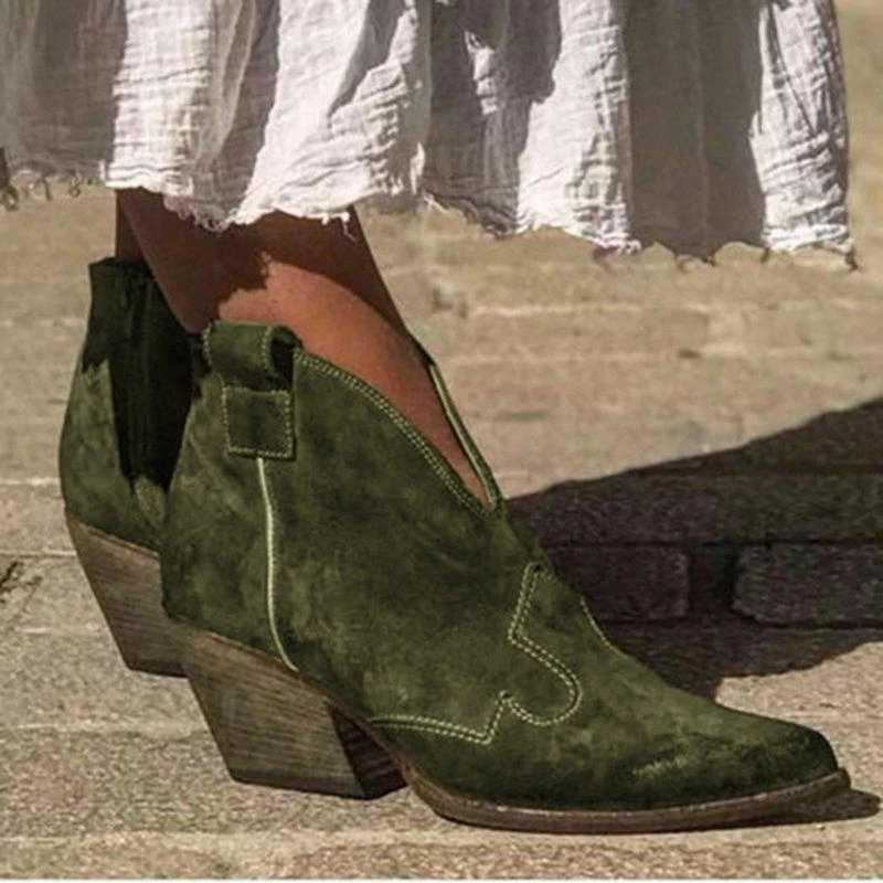 PUIMENTIUA kadın yarım çizmeler sonbahar kadın derin V şekli sivri burun Zip Vintage moda ayakkabılar bayanlar platformu tıknaz Med topuklar