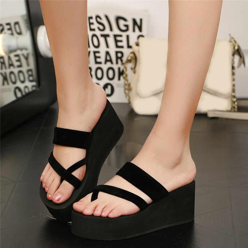 Yaz bayan ayakkabı toka kayış takozlar plaj burnu açık düz topuklu sandalet nefes Chaussure Femme seksi sandalet
