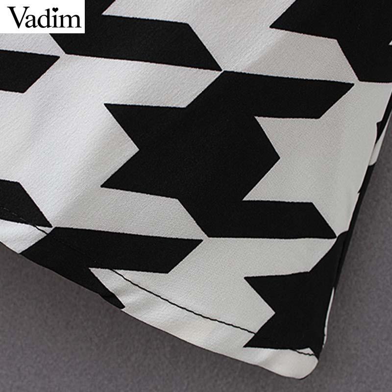 Vadim women elegant V neck mini dress long sleeve female casual Houndstooth print chic dresses stylish vestidos QC611