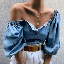 Fashion Women Loose Off Shoulder Blouse Denim Lantern Sleeve Blouse