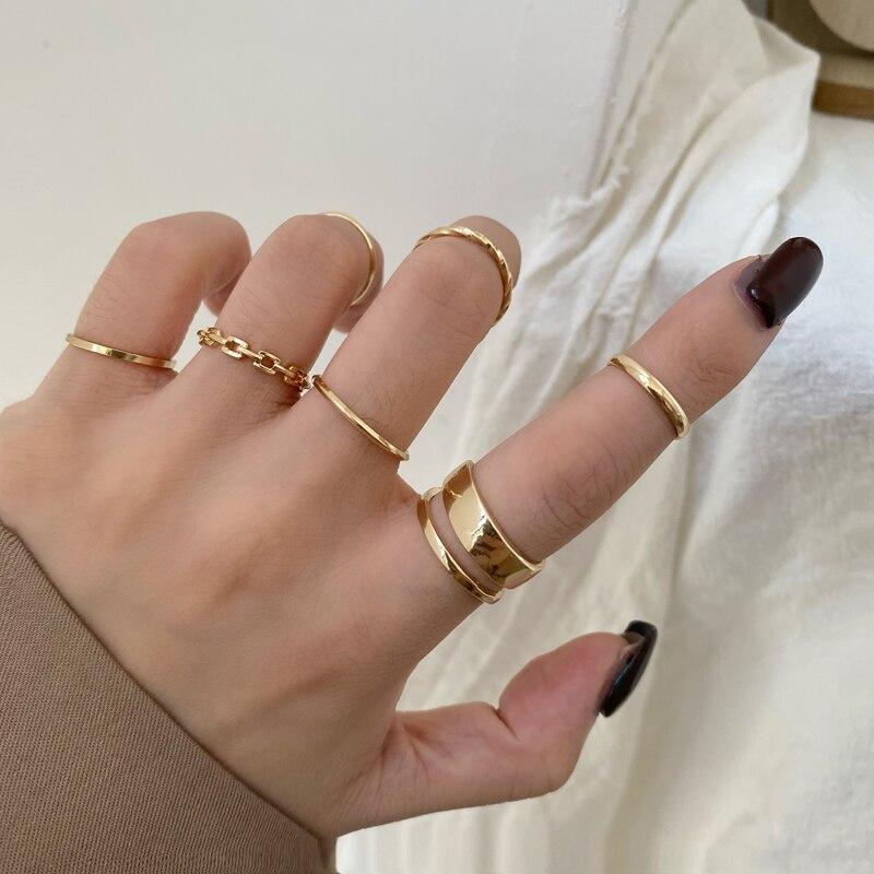 Conjunto de anillos de moda para mujer, anillo de dedo de apertura redonda hueca de aleación de Metal para niña y mujer, regalos de boda para fiesta