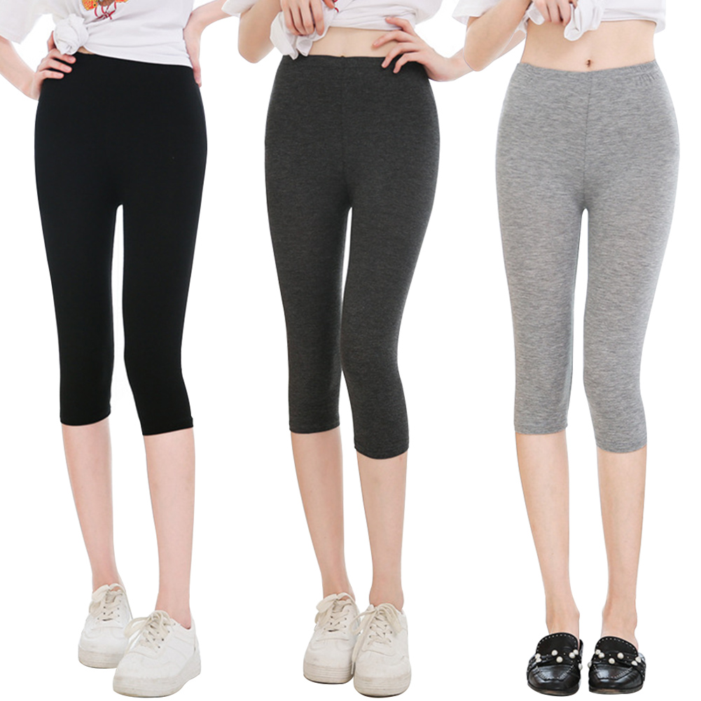 Solid Women Pants Soft Slim Shopping High Waist Cropped Trousers Cotton Blend Elastic Home Thin Office Casual Daily