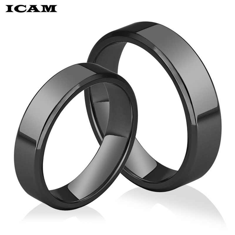 ICAM High quality 4mm/6mm Wholesale Simple Ring Fashion Rose Gold Ring Men's and Women's Exclusive Couple Wedding Ring
