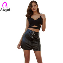 Black Zip Ring Skirt Faux Patent Slim PU Mini Skirt Women Summer Mid Waist Solid High Street Sexy Bodycon Faux Leather Skirts недорого