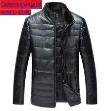 Nouveau haute qualité luxe hommes véritable en peau de mouton en cuir manteau court vers le bas col de vison épais en vrac hommes vestes grande taille L 10XL 11XL