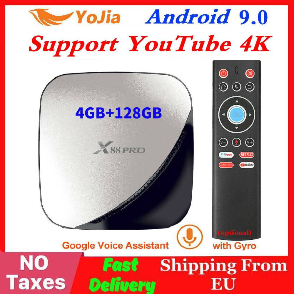 Android 9.0 TV Box 4GB RAM Max 128GB ROM 64GB RK3318 4Core 5G Dual Wifi 2G16G Set Top Box YouTube Smart Media Player X88 Pro