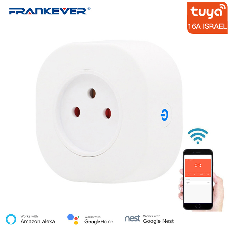 FrankEver Tuya 16A Israel WiFi Smart Plug Socket Remote Voice Control Outlet Timing Work With Alexa Google Home Smart Household