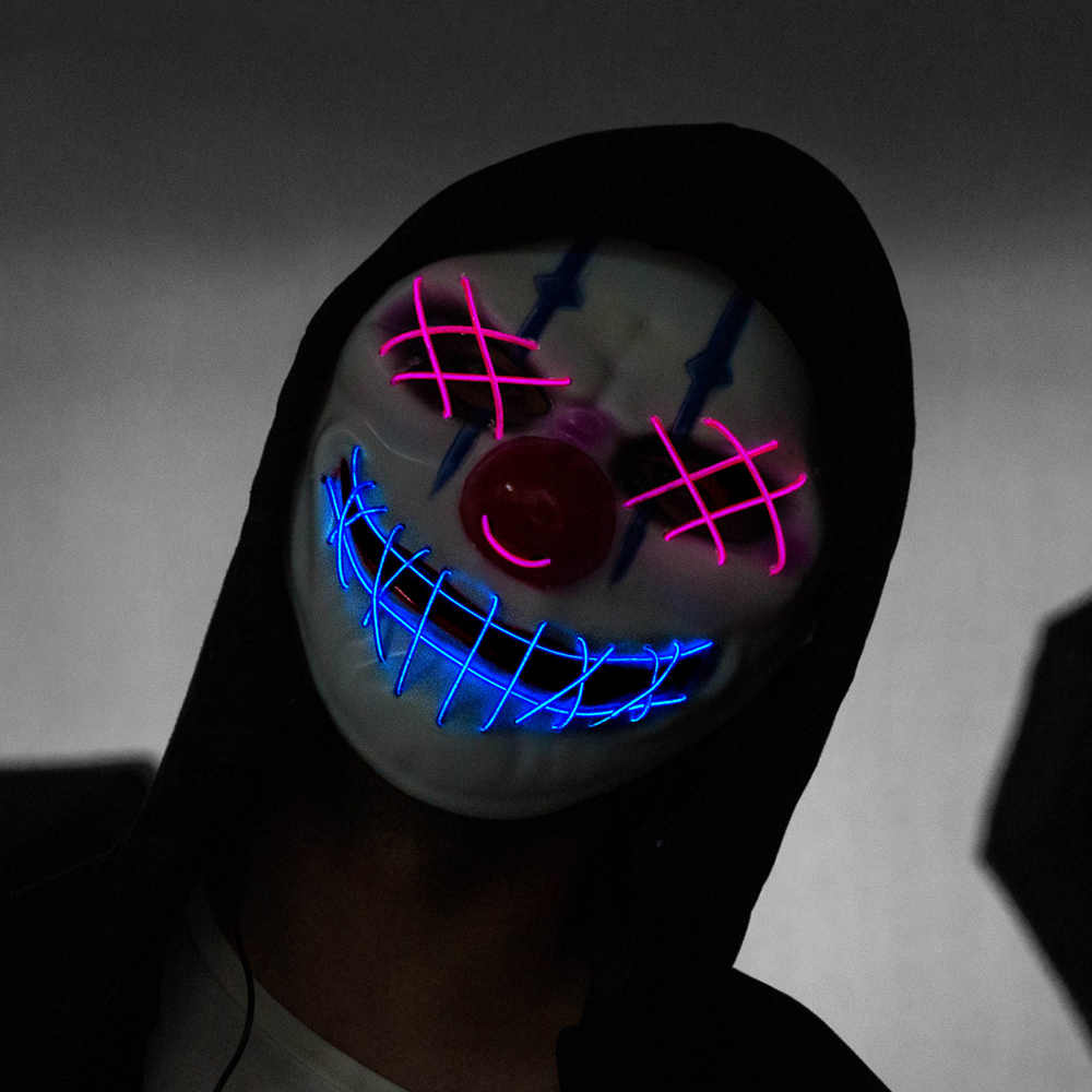 Mặt Nạ Halloween LED Mặt Nạ Neon Mặt Nạ Hóa Trang Cosplay Mascara Kinh Dị Phát Sáng Trong Tối Mặt Nạ Halloween Trang Trí
