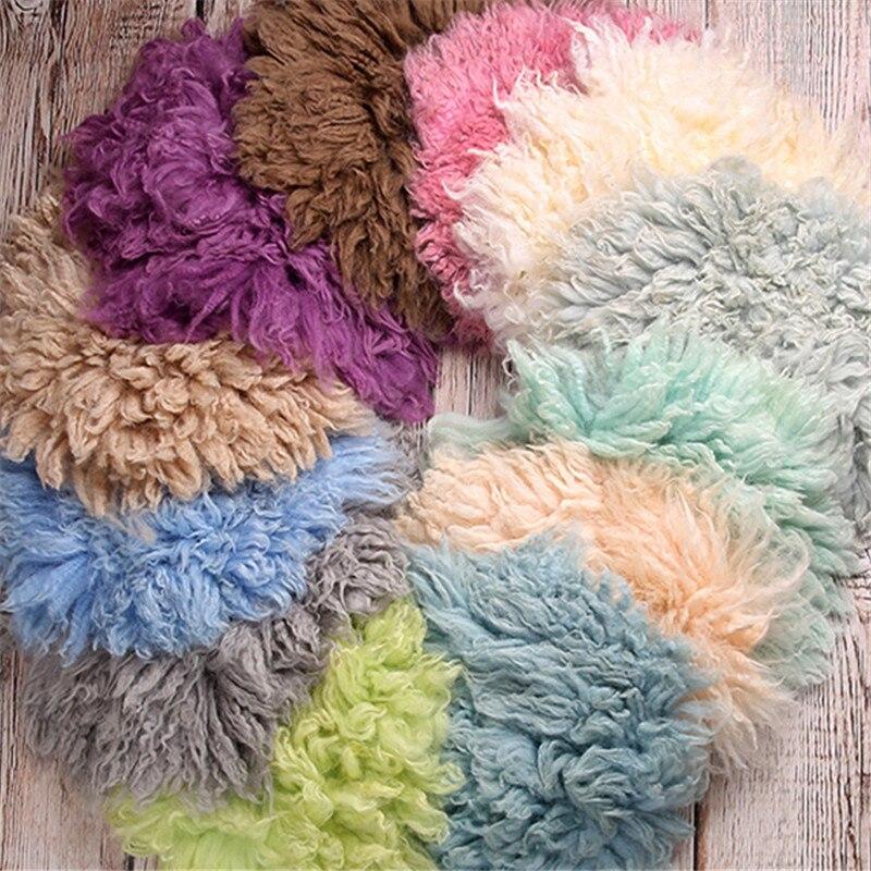 Nouveau-né photographie accessoires Studio 45cm couverture en peau de mouton Fotografie bébé accessoires ronde laine couverture nouveau-né couverture unisexe