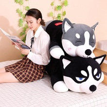 New Lovely Funny Dressed Husky Stuffed Doll Stripe Sweater Soft Lying Plush Toy Grey/Black Dog Animals Kids Birthday Gift