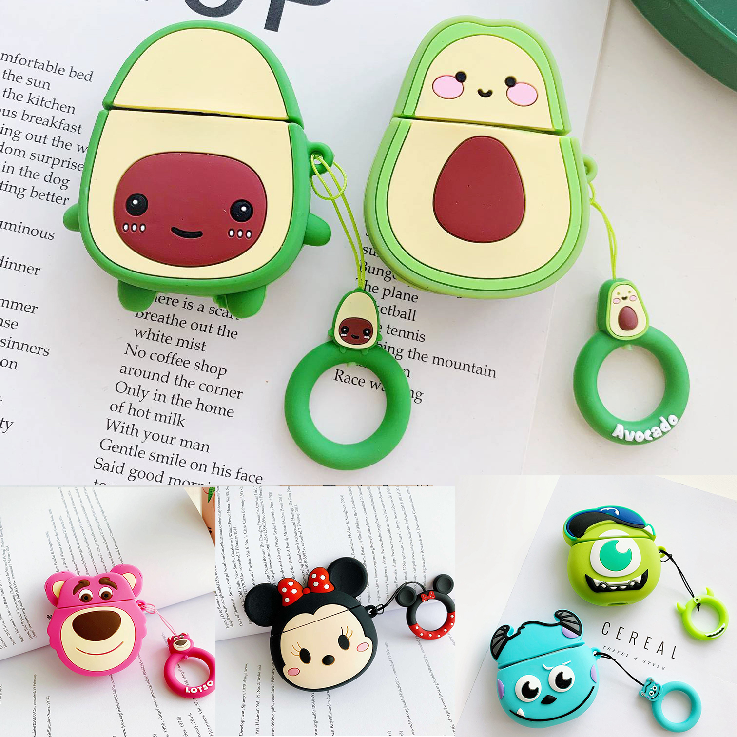 For AirPods Case Cute Peach Avocado Cartoon With Loop Cover Cartoon Wireless Earphone Case For Air Pods2 Silicon Headphone Cover