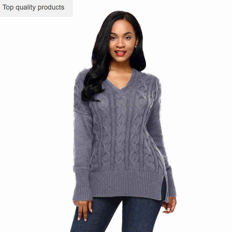 Camisolas moda 2020 primavera outono feminino rasgado camisola pullovers solto casual vintage com decote em v sólido malha tops malhas ac133