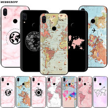 Pink World Map Case for Xiaomi Redmi 4A 4X 5 5A 6 6A 7 7A S2 Note Go K20 Pro Plus Prime 8T(China)