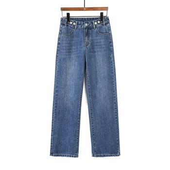 Dżinsy damskie mama wysokiej talii dżinsy damskie wysokiej talii dżinsy z szeroką nogawką damskie sprane dżinsy spodnie slim dżinsy typu boyfriend blue tanie i dobre opinie COTTON Elastan Pełnej długości QMR-967 Wysoka Przycisk fly Jeans Kobiety Streetwear Plaid Proste REGULAR