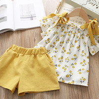 Toddler Girls Clothes Summer Baby Girls Set Foral Casual Outfits T-shirt Shorts Sleeveless Kids Clothes Children 2 pcs/Set