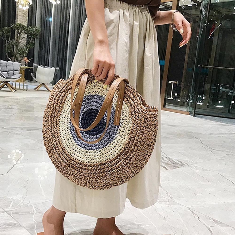 2019 Round Straw Bags Women Summer Rattan Bag Handmade Woven Beach Cross Body Bag Circle Bohemia Handbag Bali Bolso Paja